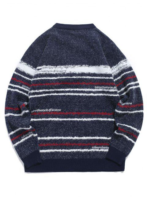 buy Crew Neck Fuzzy Striped Sweater - CADETBLUE M Mobile