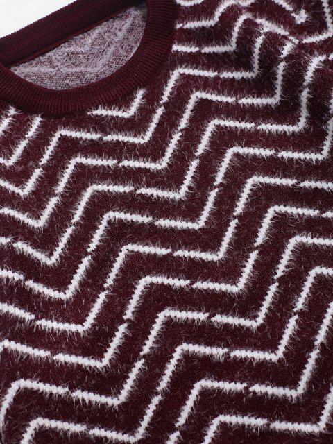 Rundhalsausschnitt Chevron Muster Unscharfe Pullover - Roter Wein XS Mobile