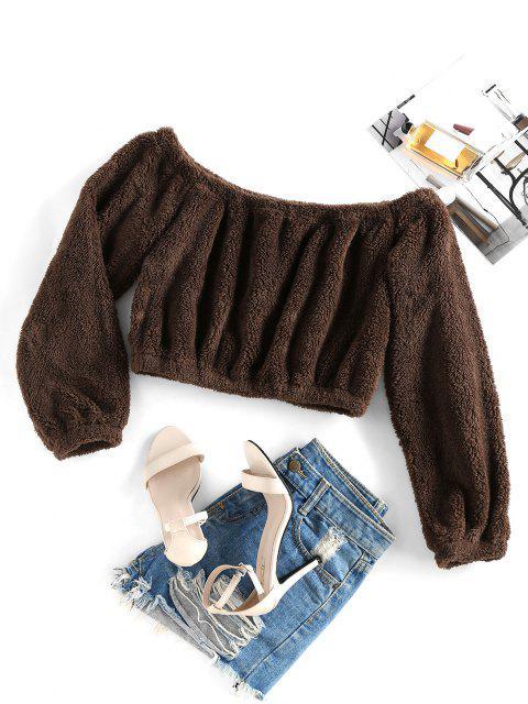 buy ZAFUL Off Shoulder Plush Crop Sweatshirt - TAN M Mobile