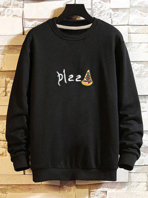 Sweat-shirtDécontractéGraphique Pizza à Goutte Epaule - Noir XL Mobile