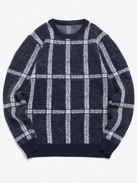 shop Plaid Ribbed Trim Jumper Sweater - CADETBLUE XS Mobile