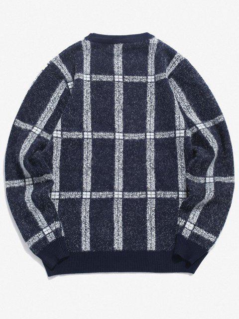 lady Plaid Ribbed Trim Jumper Sweater - CADETBLUE M Mobile
