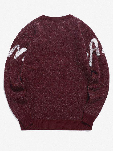 trendy Banya Graphic Fuzzy Sweater - RED WINE M Mobile