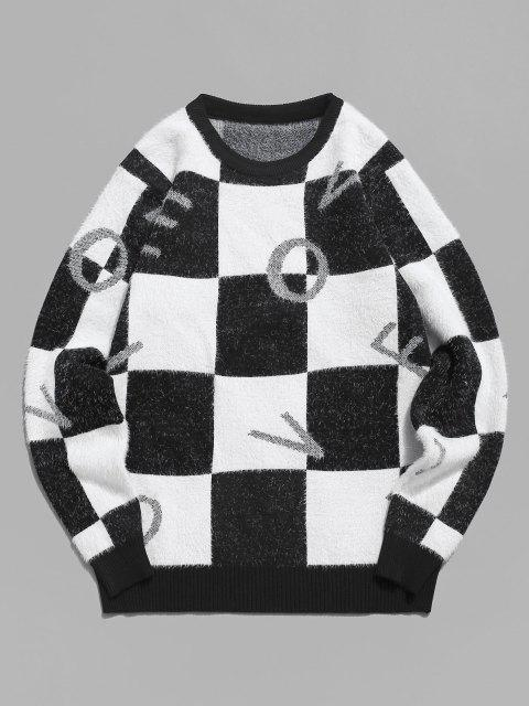 ladies Fuzzy Letter Graphic Checkered Sweater - BLACK S Mobile
