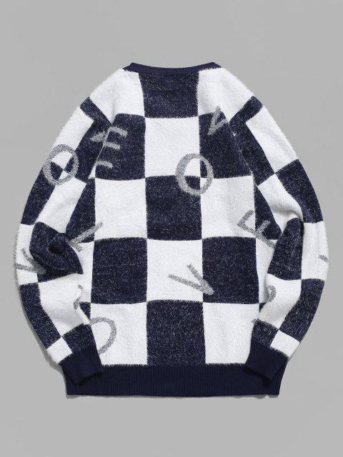 new Fuzzy Letter Graphic Checkered Sweater - CADETBLUE XS Mobile