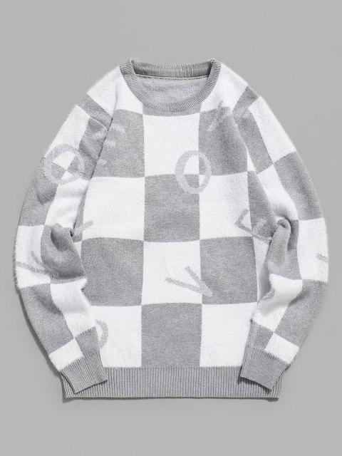 sale Fuzzy Letter Graphic Checkered Sweater - GRAY XS Mobile