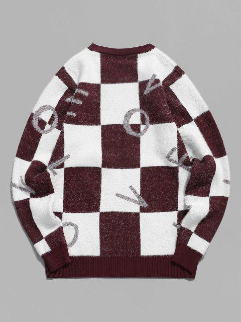 women's Fuzzy Letter Graphic Checkered Sweater - RED WINE S Mobile