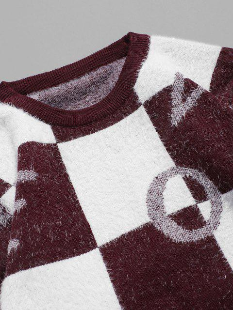 fashion Fuzzy Letter Graphic Checkered Sweater - RED WINE M Mobile