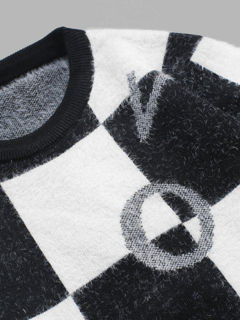 sale Fuzzy Letter Graphic Checkered Sweater - BLACK XS Mobile