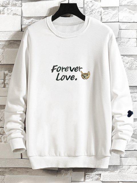Lässiges Hund Grafik Hängender Schulter Sweatshirt - Weiß 2XL Mobile