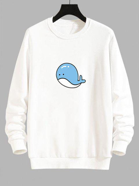 buy Cartoon Whale Graphic Casual Drop Shoulder Sweatshirt - WHITE S Mobile