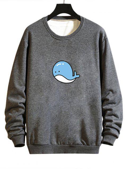 women Cartoon Whale Graphic Casual Drop Shoulder Sweatshirt - GRAY XS Mobile