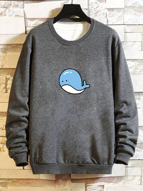lady Cartoon Whale Graphic Casual Drop Shoulder Sweatshirt - GRAY L Mobile