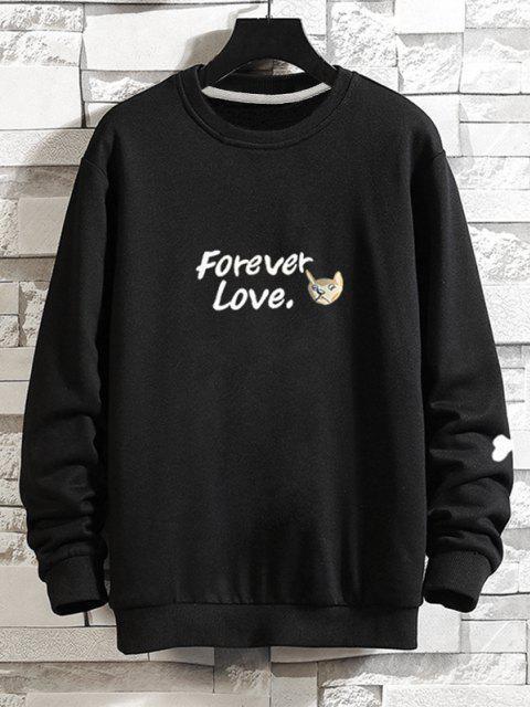 outfit Casual Dog Graphic Drop Shoulder Sweatshirt - BLACK XS Mobile