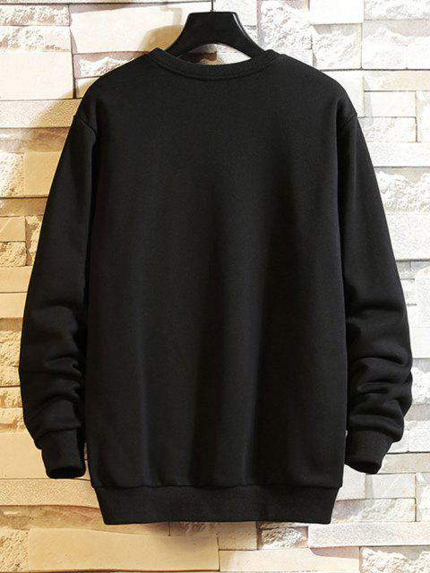 trendy Cartoon Whale Graphic Casual Drop Shoulder Sweatshirt - BLACK S Mobile