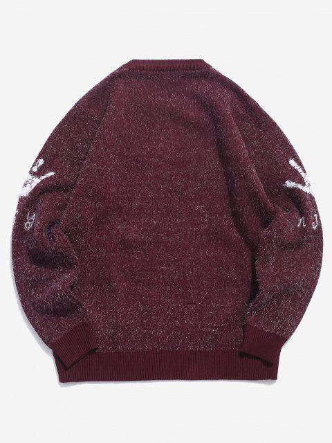 latest Hand Graphic Fuzzy Ribbed Trim Jumper Sweater - RED WINE XS Mobile