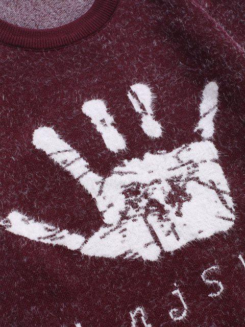 Hand Graphik Gerippter Trim Jumper Pullover - Roter Wein S Mobile