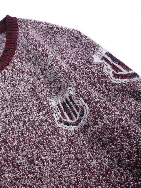 new Fuzzy Knit Speckled Graphic Ribbed Hem Sweater - RED WINE XS Mobile