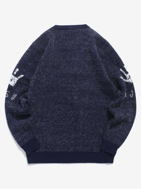 latest Hand Graphic Fuzzy Ribbed Trim Jumper Sweater - CADETBLUE S Mobile