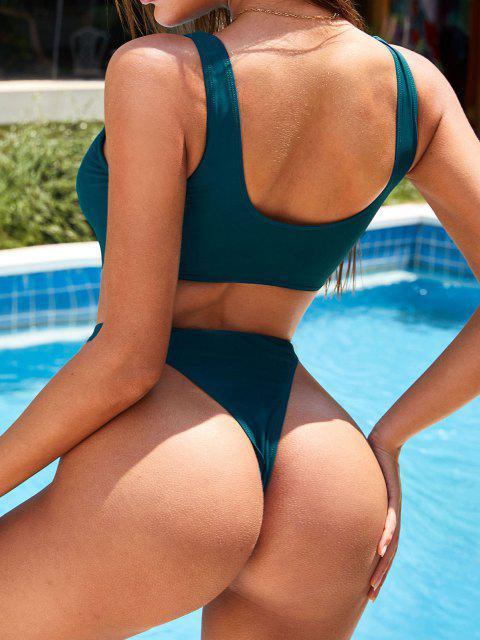 ZAFUL Bañador Ahuecado con Nudo y Estampado - Verde Oscuro S Mobile
