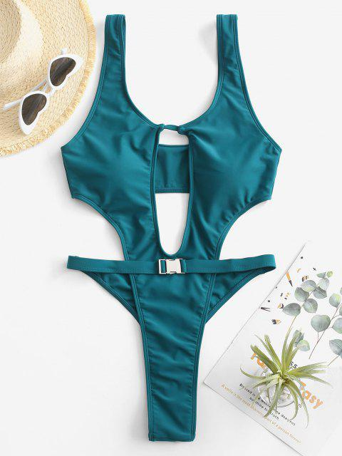womens ZAFUL Buckle Cutout Thong Trikini Swimsuit - DEEP GREEN L Mobile