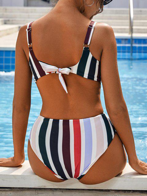 outfit ZAFUL Rainbow Ribbed Keyhole Cutout Trikini Swimsuit - MULTI S Mobile