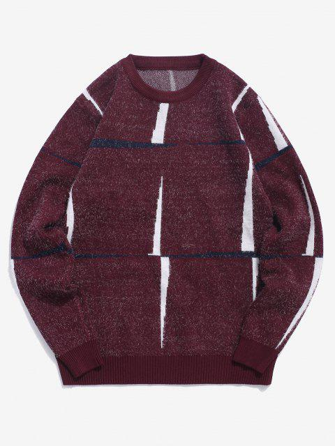 outfit Crew Neck Fuzzy Graphic Sweater - RED WINE M Mobile
