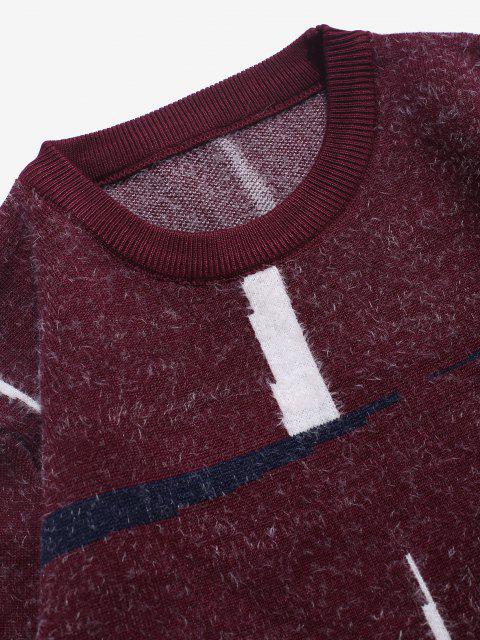Flaumiger Pullover mit Rundhalsausschnitt und Grafik - Roter Wein S Mobile
