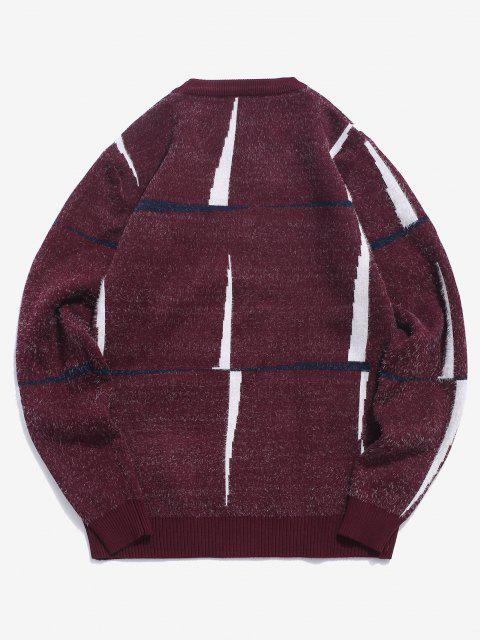 unique Crew Neck Fuzzy Graphic Sweater - RED WINE S Mobile
