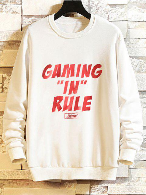 fancy Gaming In Rule Graphic Crew Neck Casual Sweatshirt - WHITE S Mobile