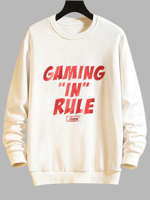 trendy Gaming In Rule Graphic Crew Neck Casual Sweatshirt - WHITE M Mobile
