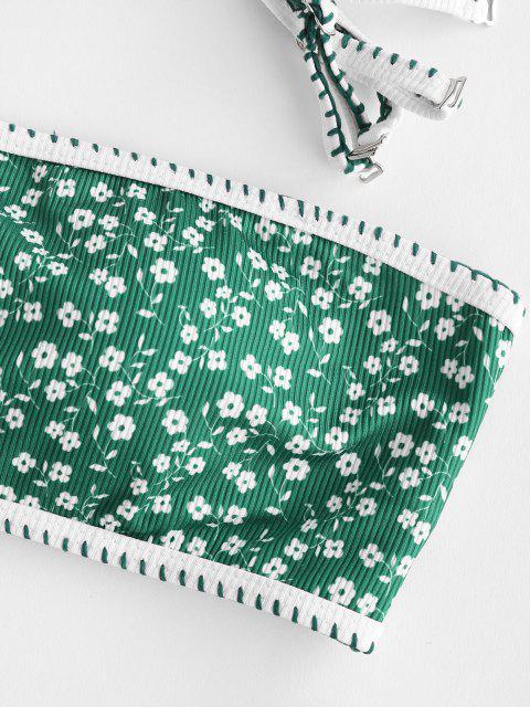 best ZAFUL Ditsy Floral Ribbed Lace-up Bandeau Bikini Swimwear - DEEP GREEN S Mobile