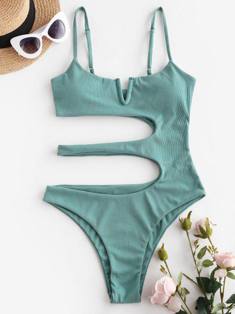 trendy ZAFUL V Wired Ribbed Cutout One-piece Swimsuit - LIGHT GREEN S Mobile