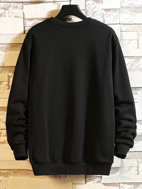 Sweat-shirt Décontracté Graphique Brodé à Goutte Epaule - Noir XS Mobile