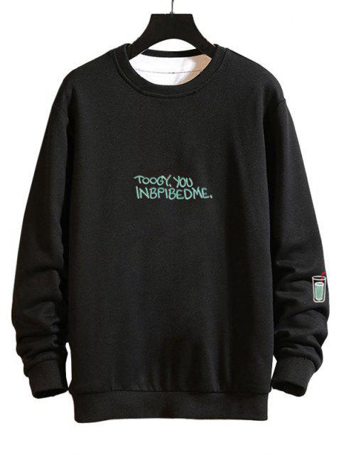 Sweat-shirt Décontracté Graphique Brodé à Goutte Epaule - Noir 2XL Mobile