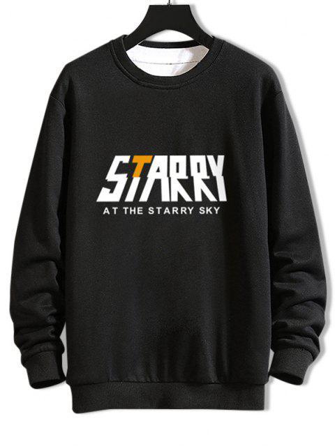 Lässiges Sternenhimmel Grafik Rundhalsausschnitt Sweatshirt - Schwarz L Mobile