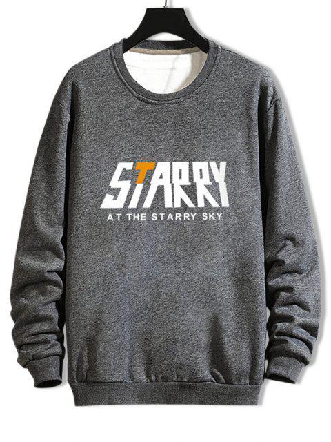 women's Casual Starry Graphic Crew Neck Sweatshirt - GRAY 2XL Mobile