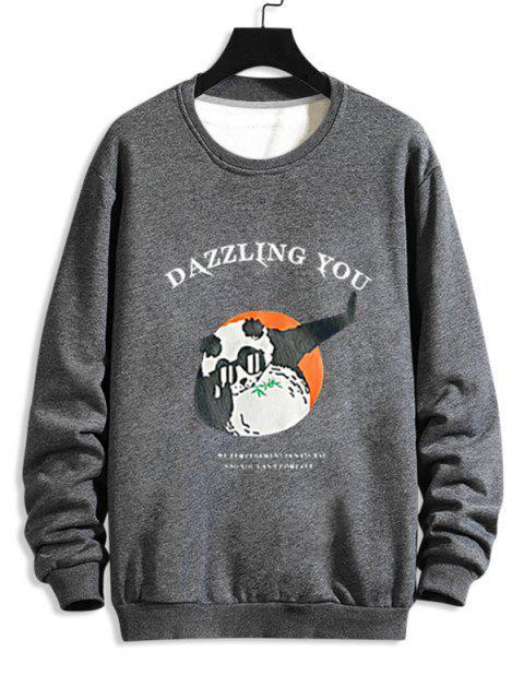 Cartoon Grafikdruck Lustiges Sweatshirt - Grau M Mobile