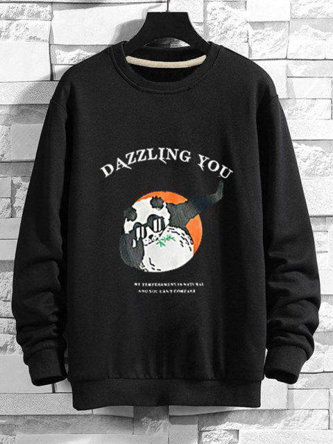 Cartoon Grafikdruck Lustiges Sweatshirt - Schwarz M Mobile