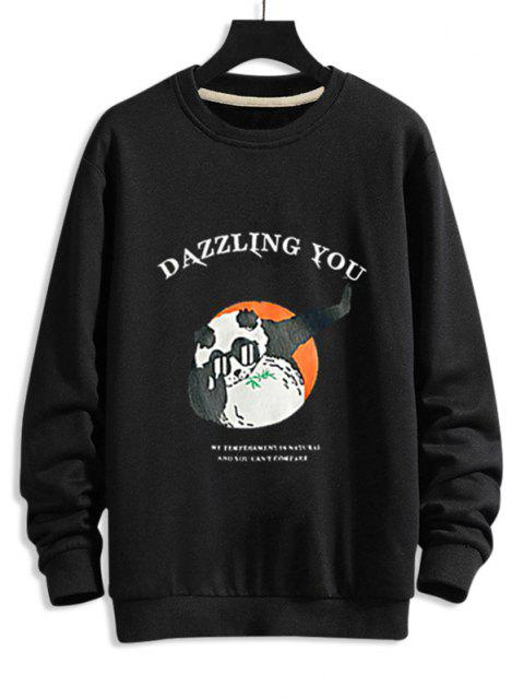 Cartoon Grafikdruck Lustiges Sweatshirt - Schwarz 2XL Mobile