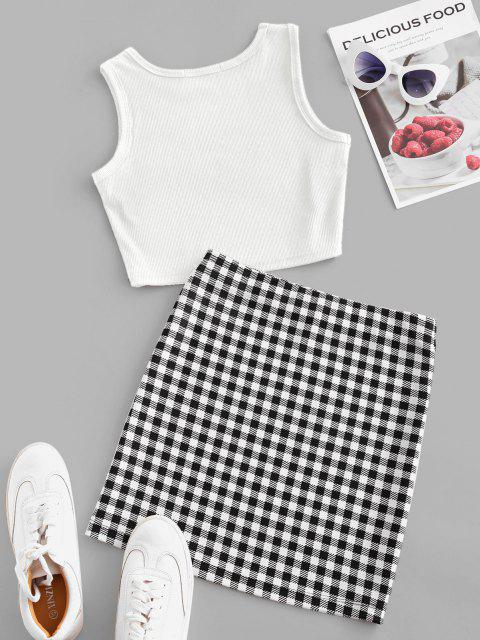 buy Checked Sleeveless Crop Two Piece Suit - WHITE M Mobile