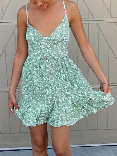 ZAFUL Ruffles Half Buttoned Floral Dress - Light Aquamarine L