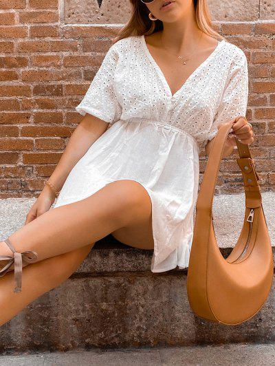 ZAFUL Eyelet Batwing Sleeve Plunging Mini Dress - Milk White S
