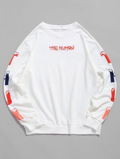 Letter Print Rib-knit Trim Sweatshirt - White 2xl