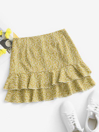 Ditsy Print Layered Ruffle Skirt - Yellow M