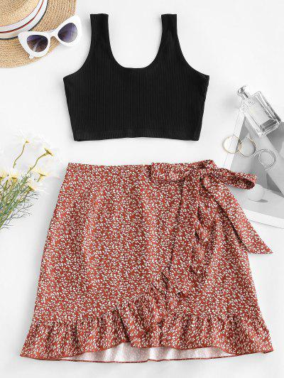 Vestido Ditsy Com Nervuras Floral De Duas Peças - Vermelho S