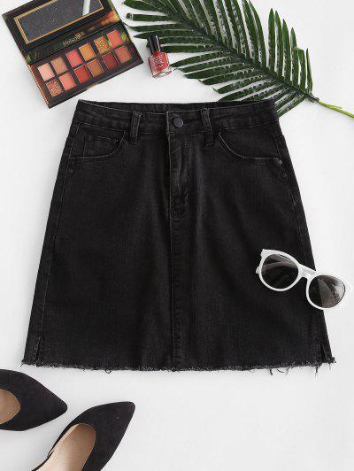 Frayed Hem Sheath Denim Skirt - Black M