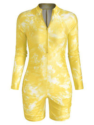 Half Zip Tie Dye Ruched Cycling Romper - Yellow M