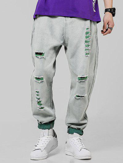 Contrast Distressed Zipper Fly Casual Jeans - Green Xs