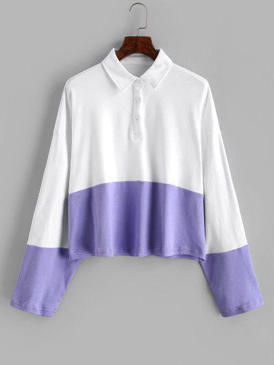 Half Buttoned Drop Shoulder Two Tone Sweatshirt - Milk White M